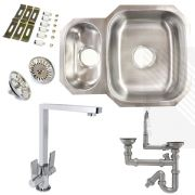 Premium Undermount Stainless Steel Kitchen Sink | Reversible 1.5 Bowl | Dual Lever Senza Kitchen Tap Pack & Pipework
